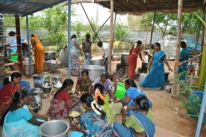 Village women helping in cooking